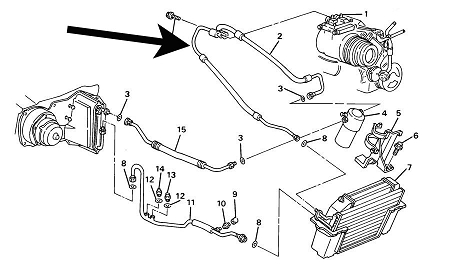 Air Conditioning pressor HoseC4 Corvette198957L p 551 on 2000 nissan xterra engine diagram